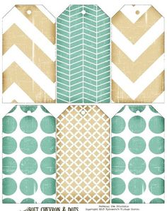 Ephemera's Vintage Garden: Pretty Patterned Hang Tags in teal and beige. Free Printable Tags, Printable Paper, Free Printables, Vintage Tags, Vintage Ephemera, Card Tags, Gift Tags, Cards, Etiquette Vintage