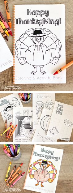 This FREE printable Thanksgiving coloring & activity book is the perfect way to entertain the children at the kids table before the big meal! SUPER cute! - Happiness is Homemade