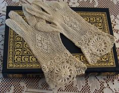 Lace Gloves Vintage Ecru Crocheted Size Medium Winter Wedding Holiday Wear Excellent Condition. $25.00, via Etsy.