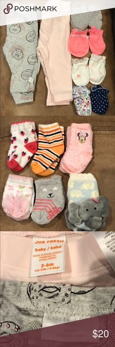 Bundle mittens socks and tights Bundle of 6 pairs of socks Gymboree, carters, disney some were worn a few times but in good shape, most were washed but not used, new born size. 8 pairs of mittens (washed with dreft but never used) all carters. 2 pairs of tights joe fresh (both washed but never used). Carter's Other