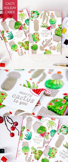 Cactus on a Christmas card? Yes, please! Check out this video tutorial http://www.yanasmakula.com/?p=51131 to learn how you can create a card like this using Hero Arts Merry Cactus To You stamps!