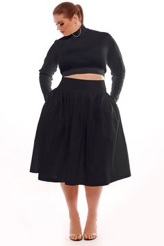 JIBRI Crop Long Sleeved T Neck and Circle Skirt Outfit $200 in black or blush