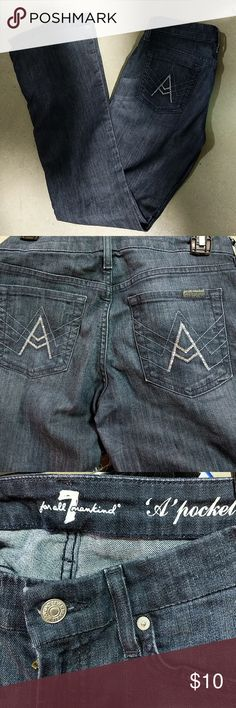 """🤩 last call!! 7FAM """"A pockets"""" jeans Rhinestone adorned a pocket 7 For All Mankind jeans. Light signs of wear from minor fading but overall I'm really good condition dark denim very minor fraying at the bottom him. Stretchy material no rips stains or tears. We're moving for my closet tonight. 7 For All Mankind Jeans Boot Cut"""
