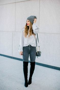 Pearl Sweater, OTK Boots, Grey Skinny Jeans   casual winter look   casual winter outfit   how to style otk boots   winter sweater outfit   winter fashion tips    The Girl in the Yellow Dress #winteroutfit #sweaterweather #otkboots