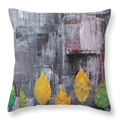 Throw Pillows - Leaves in Concrete Jungle Throw Pillow by Kathleen Wong