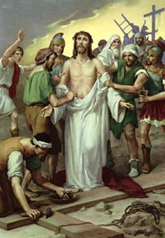 Tenth Station: Jesus is stripped of His garments: The soldiers notice you have something of value. They remove your cloak and throw dice for it. Your wounds are torn open once again. Some of the people in the crowd make fun of you. They tease you and challenge you to perform a miracle for them to see. They're not aware that you'll perform the greatest miracle of all!