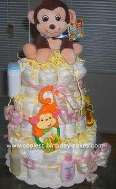 Homemade Monkey Diaper Cake... This website is the Pinterest of diaper cake ideas