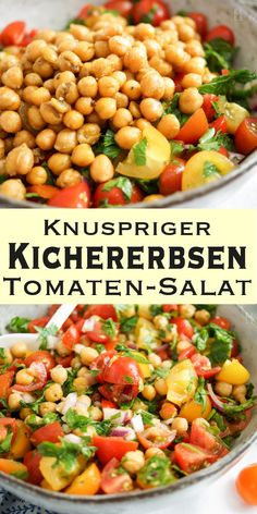 Ein phantastisch leckerer und schnell gemachter Kichererbsen-Tomaten-Salat mit v… A fantastically delicious and quickly made chickpea and tomato salad with Tomato Salad Recipes, Salad Recipes For Dinner, Healthy Salad Recipes, Vegan Recipes, Free Recipes, Vegan Foods, Crunchy Chickpeas, Vegan Gluten Free, Clean Eating