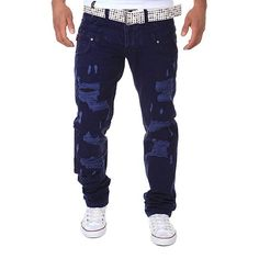2017 New Spring Summer Casual Loose Hole Cargo Pants Trousers High Quality Style Top Fashion Clothing Solid Cargo Pants Ripped Jeans Men, Torn Jeans, Biker Jeans, Jeans Denim, Trouser Jeans, Slim Jeans, Skinny Jeans, Casual Jeans, Straight Trousers