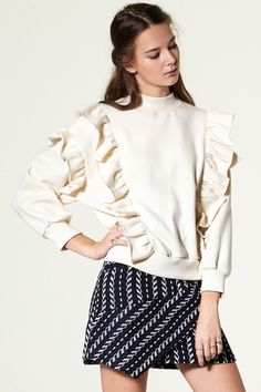 Stella Ruffle SweatShirt Discover the latest fashion trends online at storets.com #High Neck Stripe Pullover  #Canvas Jacket  #Tweed Skirt
