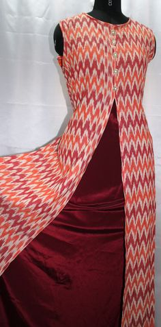 Ikat and crape long dress