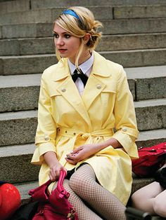 Gossip Girl Season One: Get the Look  Episode 16: All About My Brother    The popularity contest escalates between JENNY and Blair as the rumors continue to fly. Trying her best to fit in with the other girls, Jenny wears a yellow Michael Kors trench, Hue fishnet tights, Stacey Lapidus headband and Foley & Corinna bag.