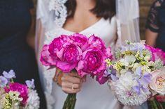Fuschia Pink wedding bouquet, by The Flower Appreciation Society.  A Slinky 1930s Inspired Sarah Janks Wedding Dress for a Modern Day Chic, London Wedding  http://www.lauramccluskeyphotography.com/