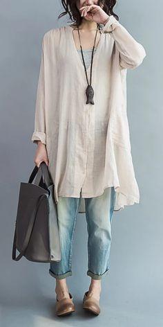 Linen Dresses, Cotton Dresses, Casual Dresses, Casual Outfits, Loose Dresses, Summer Dresses, Cotton Blouses, Cotton Shirts, Boho Fashion