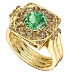 Ana De Costa Tsavorite Cognac Diamond Gold Ring