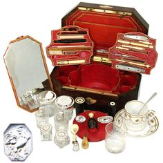 Very rare: Antique French Palais Royal Napoleon Era Necessaire, 36+ pc  France c. 1800-1809  Photo credit: Antiques & Uncommon Treasure