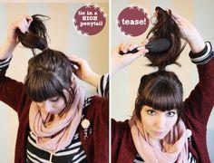 Messy hair bun.