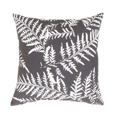 Charcoal Linen Cushion Cover. Decorator Fern Pillow. by OnHighat5