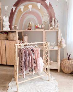 Pre-order Rotan Kledingrek 'Nine' Baby Bedroom, Baby Room Decor, Nursery Room, Girls Bedroom, Ikea Girls Room, Rainbow Bedroom, Baby Playroom, Kids Room Design, Little Girl Rooms