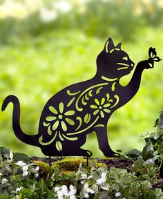 Ltd Commodities LLC The Lakeside Collection Animal Silhouette Stake - Cat Ladybug Garden, Animal Silhouette, Lakeside Collection, Humming Bird Feeders, Garden Signs, Garden Stakes, Buy A Cat, Yard Art, Metal Art