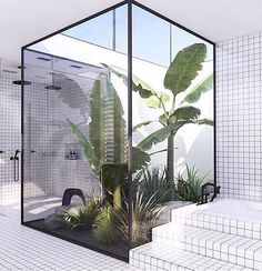 Buitenstebinnen  #goals #greenterior #plants #bathroom #interior #design #architecture #tiles #patio #bananatree #shower #regram @elledecoration_nl via ELLE HOLLAND MAGAZINE OFFICIAL INSTAGRAM - Fashion Campaigns  Haute Couture  Advertising  Editorial Photography  Magazine Cover Designs  Supermodels  Runway Models