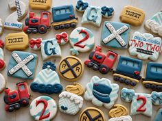 2nd Birthday Party For Boys, Trains Birthday Party, Train Party, Birthday Board, Birthday Party Themes, Birthday Cookies, Custom Cookies, Rome, Foodies
