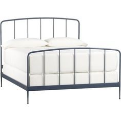 Crate & Barrel Rory Blue Queen Bed