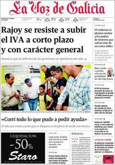 Los Titulares y Portadas de Noticias Destacadas Españolas del 6 de Junio de 2013 del Diario La Voz de Galicia ¿Que le parecio esta Portada de este Diario Español?