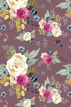 Western Autumn Mauve Flower - Mauve by shopcabin - Hand painted colorful floral pattern on a mauve background on fabric, wallpaper, and gift wrap.  Beautiful floral painting in mauve, olive, blue, and emerald green.