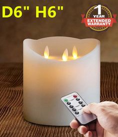 6'X6' Remote and Timer 3-Wicks Flameless Candle with 3-C Batteries operated 500 hours IVORY * Read more  at the image link. (This is an affiliate link and I receive a commission for the sales)