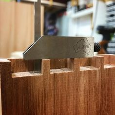 Practice dovetail pins to see if I like the spacing before I cut the real ones in the fiddleback Blackwood drawer fronts. Mr Vesper @vespertools says it's square, so it must be so.