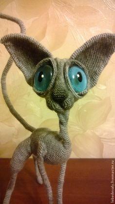 Cat Sphinx Fundus LittleOwlsHut Finished toy for sale Made using Crochet Pattern of Svetlana Pertseva From www.LittleOwlsHut.com Handmade.