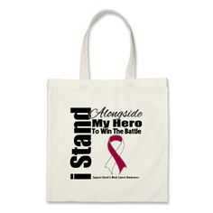 I Stand Alongside My Hero Head and Neck Cancer Tote Bags by giftsforawareness