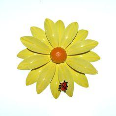 Vintage 60s Flower Brooch / Enamel Flower by BreesVintageRevivals, $14.00