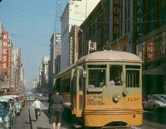 "Los Angeles Transit Lines ""P"" Line, Broadway at 7th Street, circa 1956"