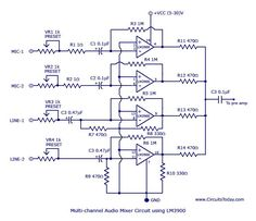 Multi-channel-audio-mixer-circuit