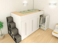 Lit mezzanine avec armoire