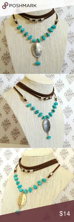 "Multilayer Turquoise Chip Boho Leather Necklace This is a brand new handmade bohemian turquoise necklace.   I made this necklace myself with turquoise howlite chip, silver plated beads, brown leather, and lobster clasp.   Length:  13"" with 1.5"" extension Jewelry Necklaces"