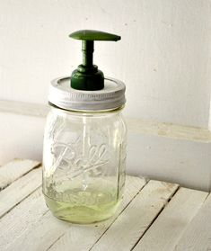 Mason Jar Soap Dispenser Tut  What you'll need:    •Mason jar with lid   •White or colored paint   •Paintbrush   •Nail   •Hammer   •Dish or hand soap with pump dispenser