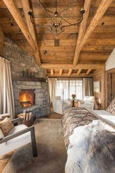 Rustic stone fireplace.  22 Inspiring Rustic Bedroom Designs For This Winter