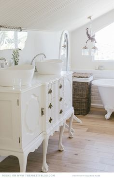 bathroom - Great! I love to share everything, but I also like to  have my own space! I think I would knock my head at the ceiling every time I stand straight. #bathroom, #decor
