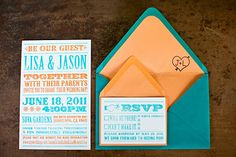 Colorful turquoise and melon wedding invitations and RSVP card Wedding Themes, Wedding Designs, Wedding Blog, Diy Wedding, Dream Wedding, Wedding Ideas, Wedding Veils, Blue Wedding, Wedding Pictures