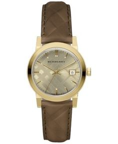 Burberry Women's Swiss The Classic Round Dark Brown Check-Embossed Leather Strap Watch 34mm BU9153