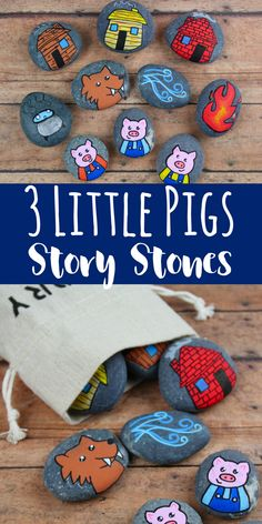 3 Little Pigs Story StonesThese 3 Little Pigs story stones are perfect for re-telling and reading comprehension. Using flat rocks and paint pens, these are simple to Little Pigs Story Stones These 3 Little Pebble Painting, Pebble Art, Stone Painting, Rock Painting, Story Stones, Art Projects For Adults, Craft Projects, Toddler Art Projects, Craft Ideas