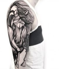 amazing black work horse tattoo sleeve by @frankcarrilho