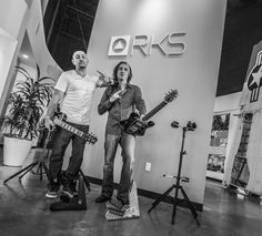 """D&A company Director - platinum songwriter/music producer TONE Scott, and the infamous heavy metal guitar icon """"Marc Ferrari"""" from the band 'KEEL'  at the D&A Guitar Gear / RKS Designs headquarters /// Photo by: Joshua Tendero [info on the photographer >>   http://tendero86.wix.com/jtendero]  (click the pic to see all of OUR GEAR!)"""