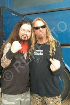 Dimebag Darrell and Jeff Hanneman no doubt shredding together in heaven with Cliff Burton, Gar Samuelson, and Dio.