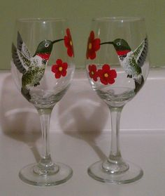 Hand Painted Wine Glasses Set of Two Hummingbirds by PaintedParrot, $30.00