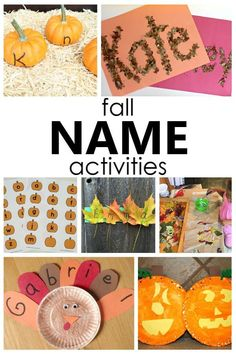 Start teaching the alphabet and help kids learn to recognize and spell their own name with these fun fall name activities for preschool and kindergarten. Name Activities Preschool, Autumn Activities For Kids, Fall Crafts For Kids, Preschool Crafts, Fall Crafts For Preschoolers, Preschool Fall Crafts, Festive Crafts, Preschool Curriculum, Autumn Crafts