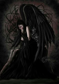 Angel After Dark. Top Gothic Fashion Tips To Keep You In Style. Consistently using good gothic fashion sense can help Dark Fantasy Art, Dark Gothic Art, Gothic Artwork, Dark Angels, Angels And Demons, Fallen Angels, Gothic Angel, Gothic Fairy, Ange Demon